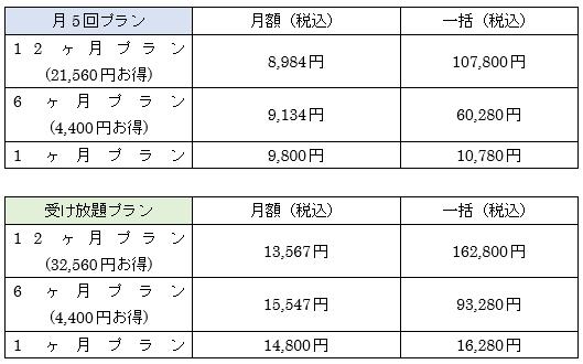SHElikesの料金表